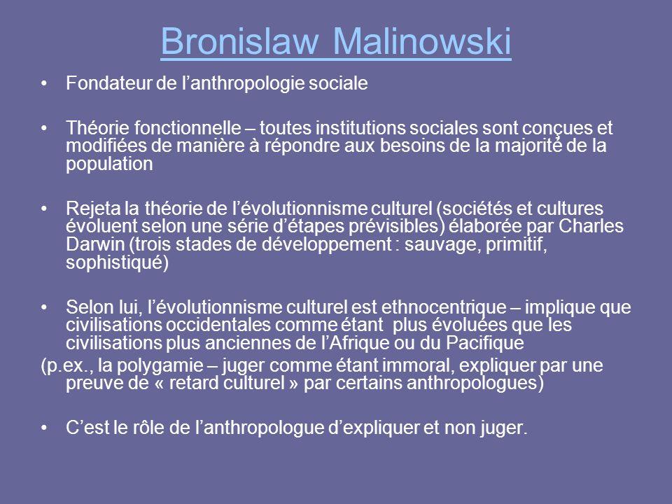 Bronislaw Malinowski Fondateur de lanthropologie sociale Théorie fonctionnelle – toutes institutions sociales sont conçues et modifiées de manière à r
