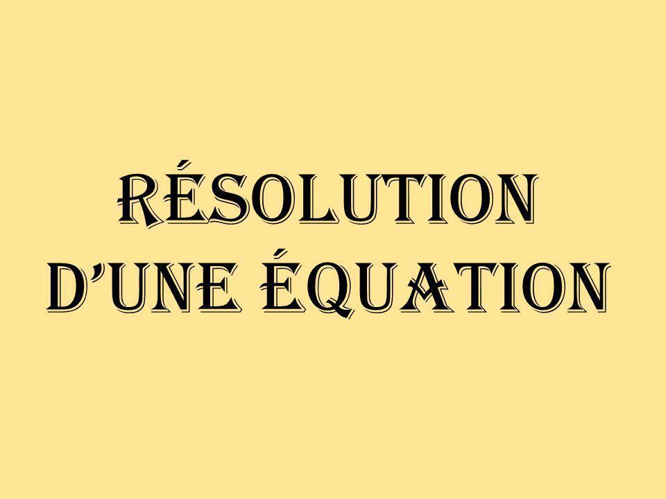 Équation Une équation est un énoncé qui indique légalité entre 2 expressions.