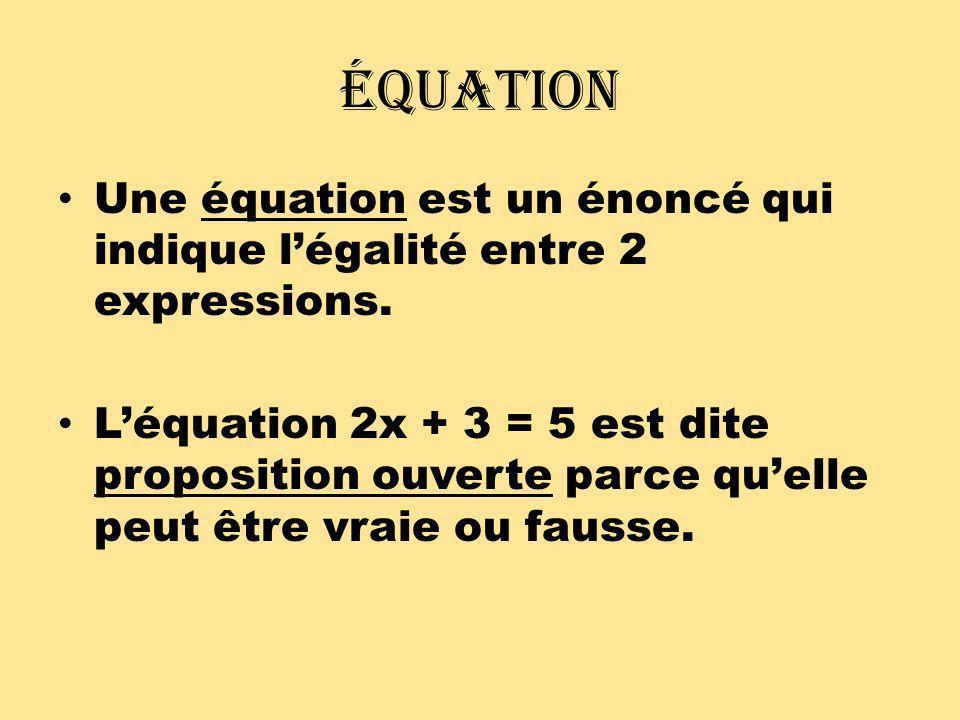Équation Pour rendre une équation vraie, on trouve la solution ou la racine.