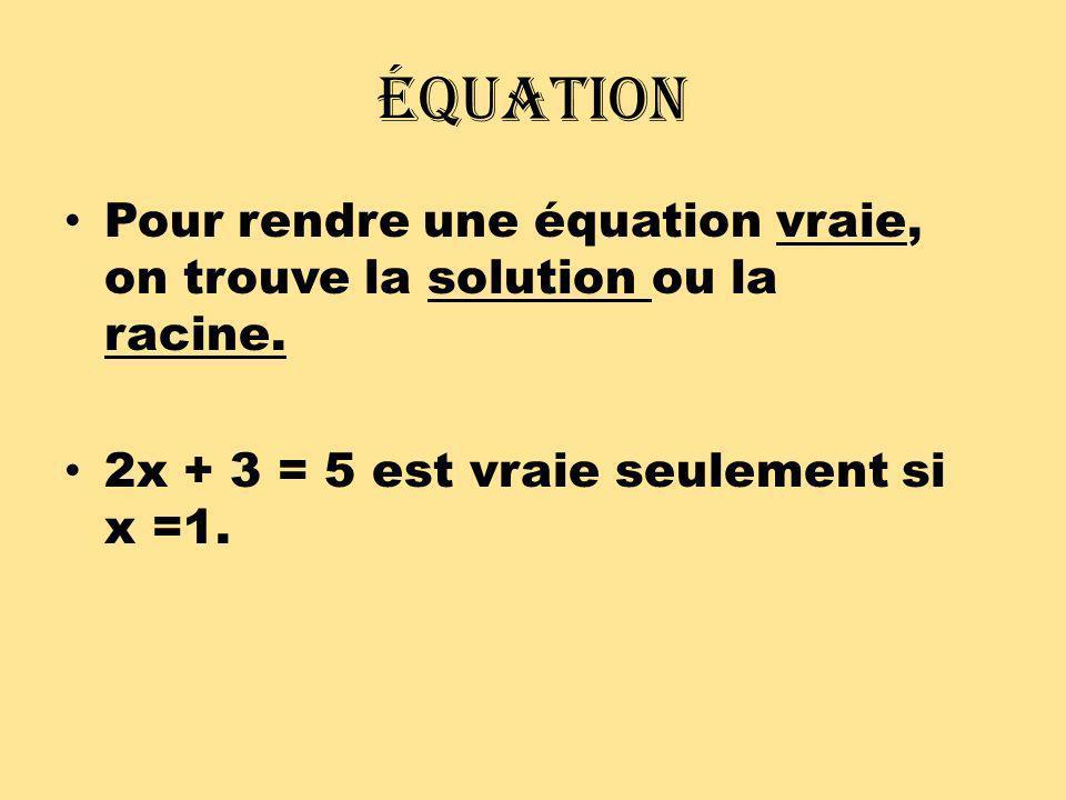 Équation Pour trouver la solution, tu dois isoler x pour trouver la solution.