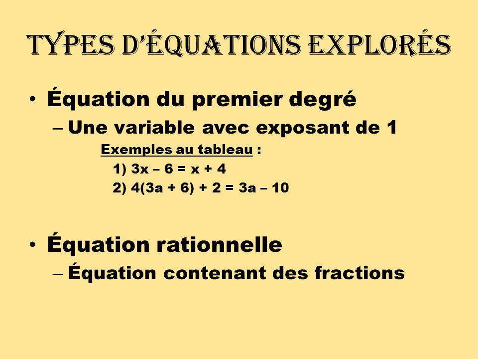 Les étapes: D.E.N.I.Q. Résoudre pour x: