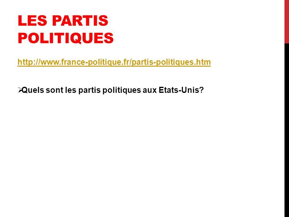 LES PARTIS POLITIQUES http://www.france-politique.fr/partis-politiques.htm Quels sont les partis politiques aux Etats-Unis