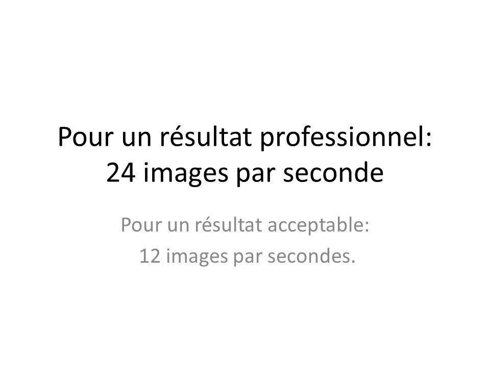 Pour un résultat professionnel: 24 images par seconde Pour un résultat acceptable: 12 images par secondes.