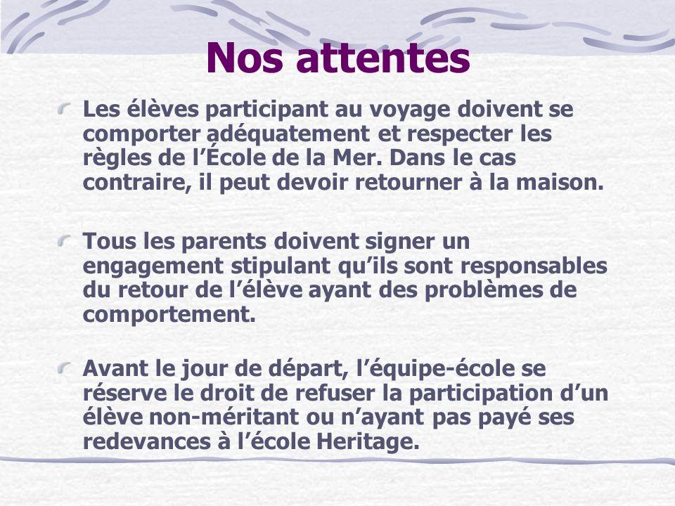 Nos attentes Les élèves participant au voyage doivent se comporter adéquatement et respecter les règles de lÉcole de la Mer. Dans le cas contraire, il