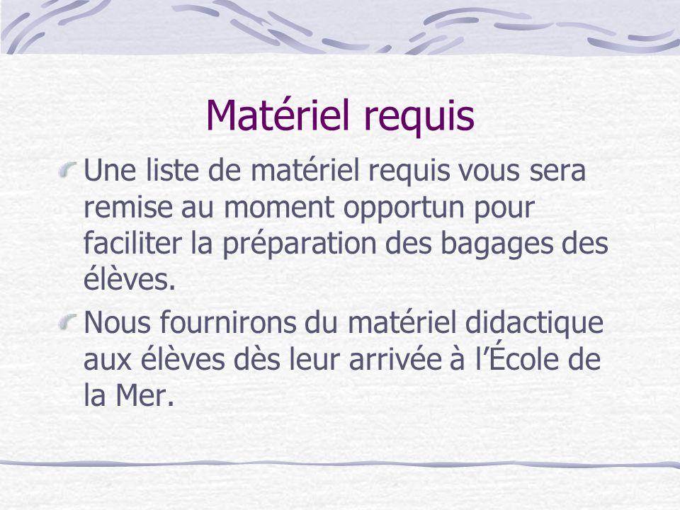 Matériel requis Une liste de matériel requis vous sera remise au moment opportun pour faciliter la préparation des bagages des élèves. Nous fournirons