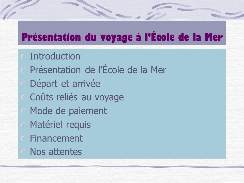 Présentation du voyage à lÉcole de la Mer Introduction Présentation de lÉcole de la Mer Départ et arrivée Coûts reliés au voyage Mode de paiement Maté