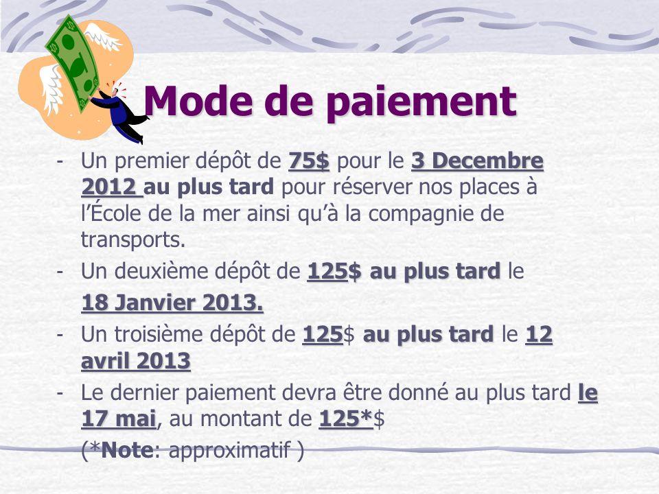 Mode de paiement 75$3 Decembre 2012 - Un premier dépôt de 75$ pour le 3 Decembre 2012 au plus tard pour réserver nos places à lÉcole de la mer ainsi q