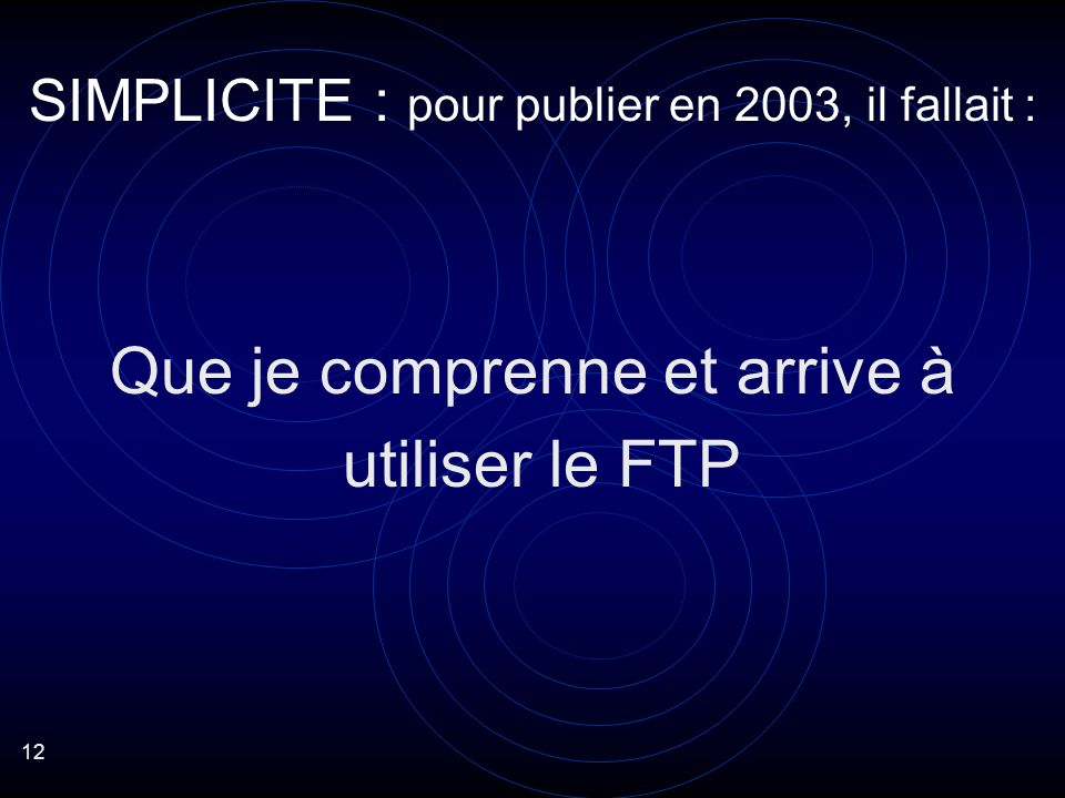 12 Que je comprenne et arrive à utiliser le FTP SIMPLICITE : pour publier en 2003, il fallait :