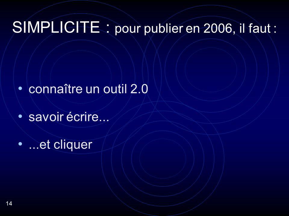 14 connaître un outil 2.0 savoir écrire......et cliquer SIMPLICITE : pour publier en 2006, il faut :