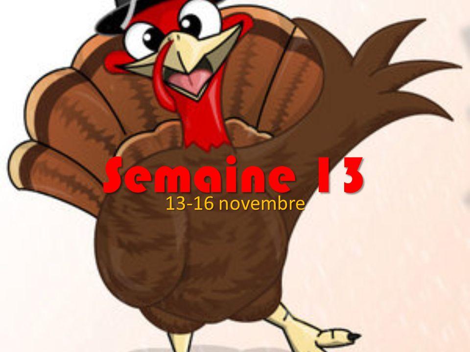 Semaine 13 13-16 novembre