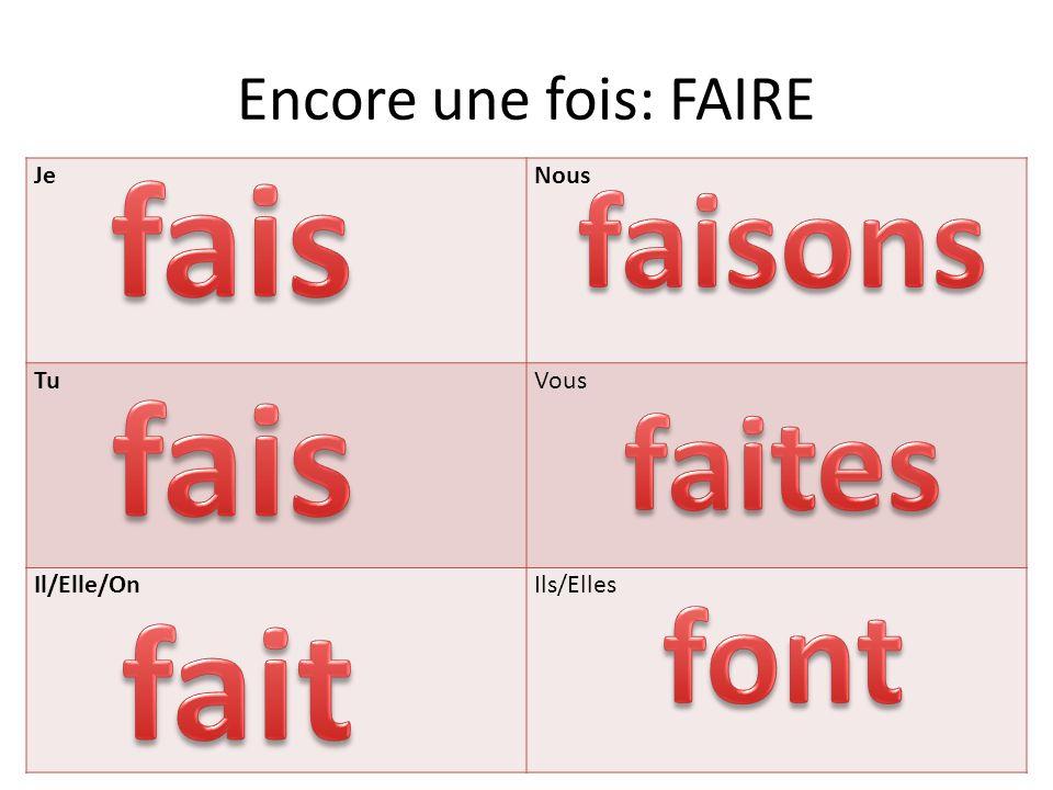 JeNous TuVous Il/Elle/OnIls/Elles Encore une fois: FAIRE