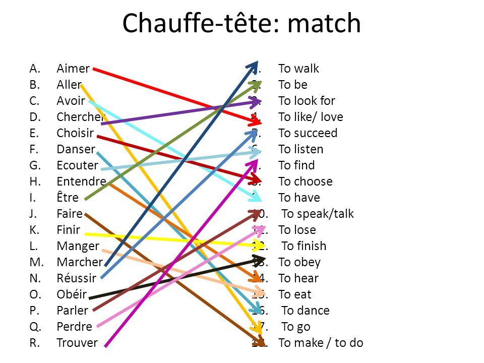 Chauffe-tête: match A.Aimer B.Aller C.Avoir D.Chercher E.Choisir F.Danser G.Ecouter H.Entendre I.Être J.Faire K.Finir L.Manger M.Marcher N.Réussir O.O