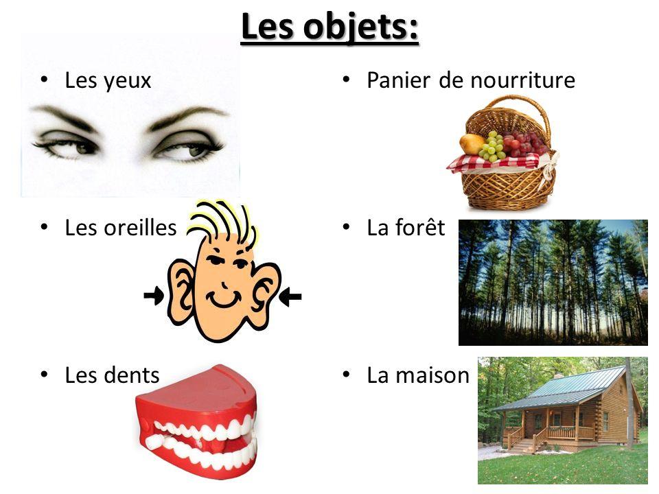 Les objets: Les yeux Les oreilles Les dents Panier de nourriture La forêt La maison