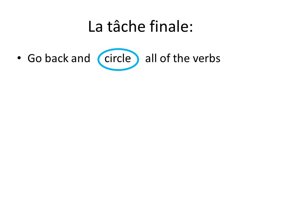 La tâche finale: Go back and circle all of the verbs