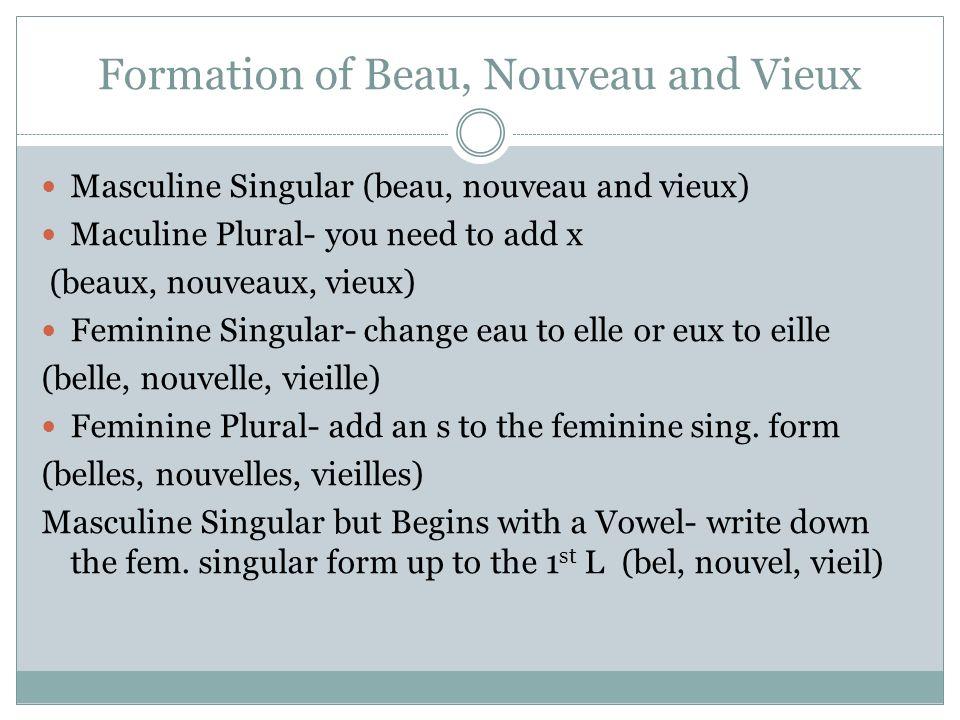 Formation of Beau, Nouveau and Vieux Masculine Singular (beau, nouveau and vieux) Maculine Plural- you need to add x (beaux, nouveaux, vieux) Feminine