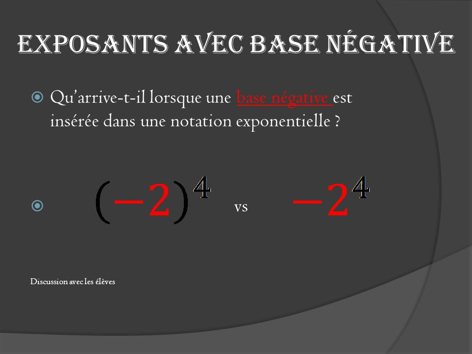 Exposants avec base négative Quarrive-t-il lorsque une base négative est insérée dans une notation exponentielle ? vs Discussion avec les élèves