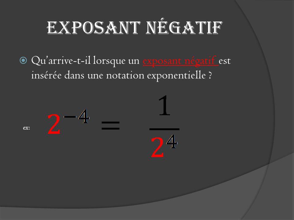 Exposant négatif Quarrive-t-il lorsque un exposant négatif est insérée dans une notation exponentielle ? ex: