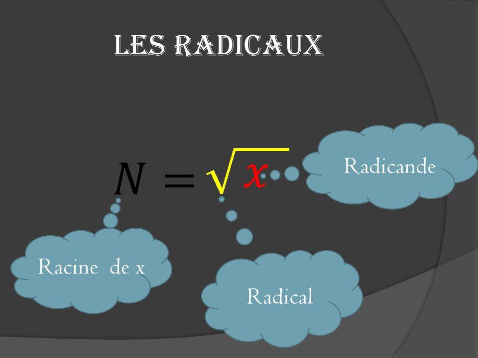 Les radicaux (suite) Lopération radical nous permet de: retrouver, à partir dun radicande donné, la base qui a été utilisée au préalable.