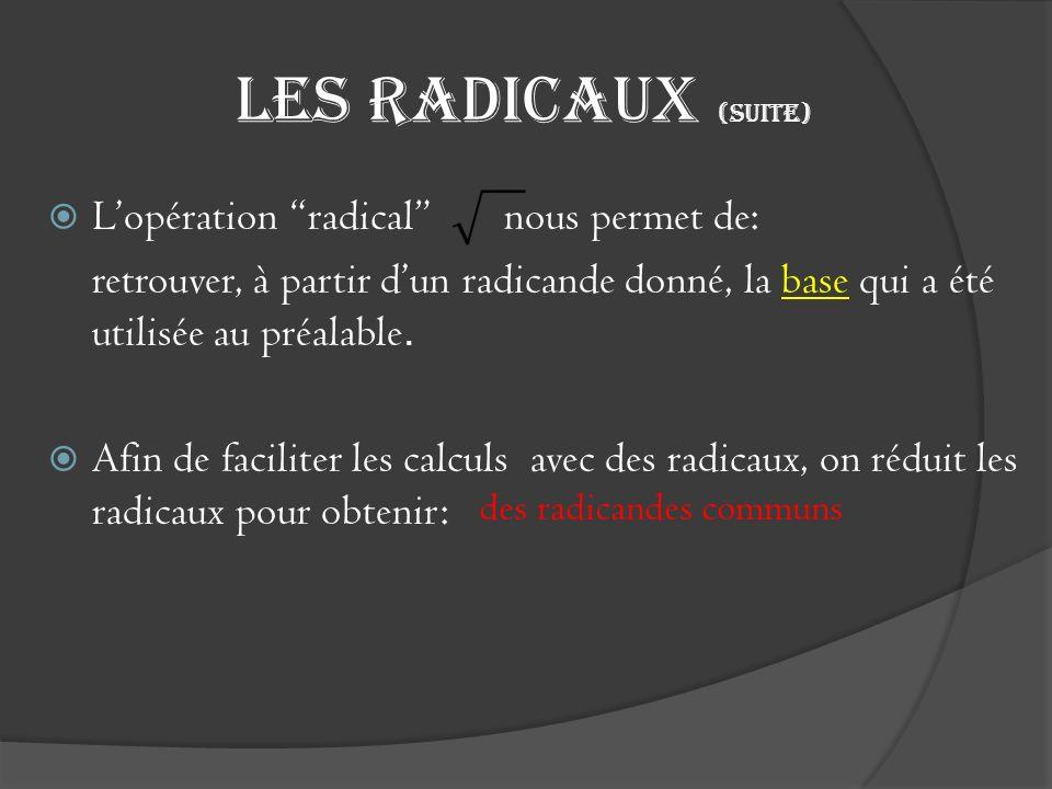 Les radicaux (suite) Lopération radical nous permet de: retrouver, à partir dun radicande donné, la base qui a été utilisée au préalable. Afin de faci