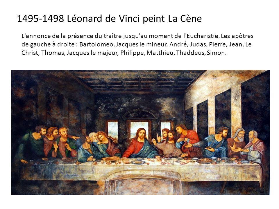 1495-1498 Léonard de Vinci peint La Cène L'annonce de la présence du traître jusqu'au moment de l'Eucharistie. Les apôtres de gauche à droite : Bartol