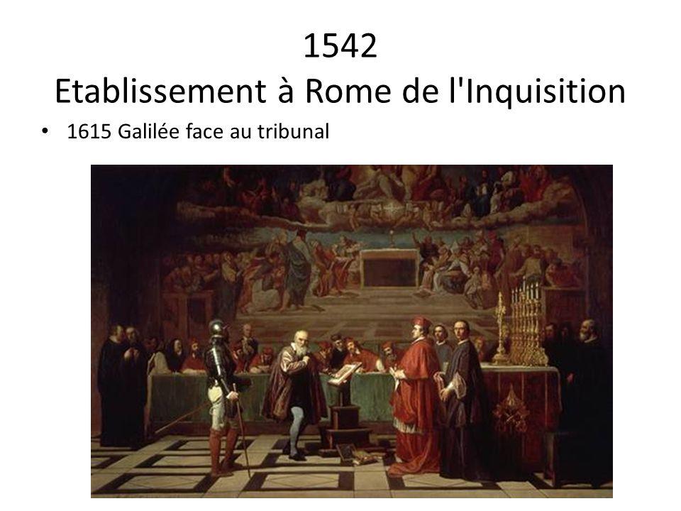 1542 Etablissement à Rome de l'Inquisition 1615 Galilée face au tribunal