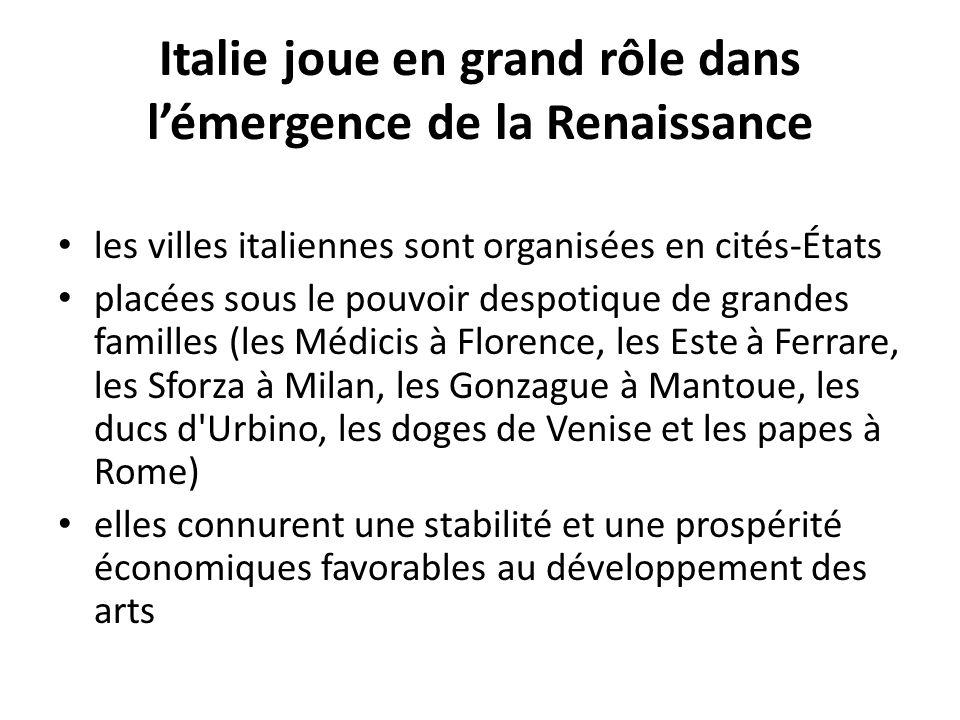 Italie joue en grand rôle dans lémergence de la Renaissance les villes italiennes sont organisées en cités-États placées sous le pouvoir despotique de