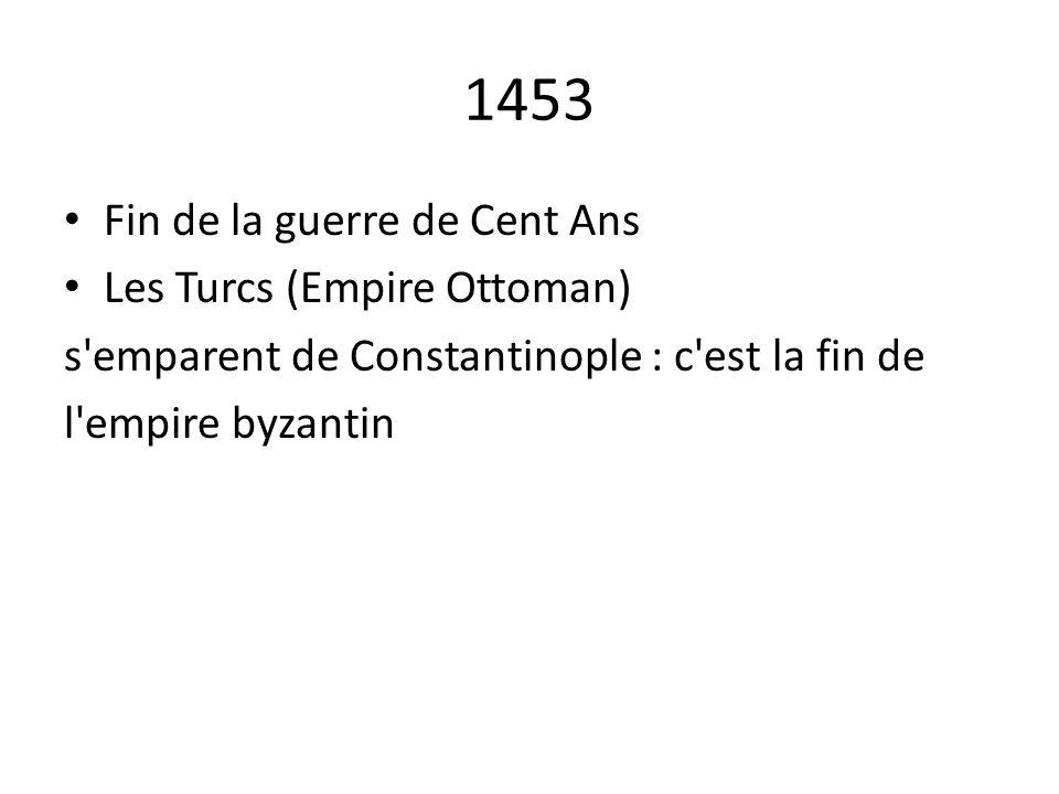 1453 Fin de la guerre de Cent Ans Les Turcs (Empire Ottoman) s'emparent de Constantinople : c'est la fin de l'empire byzantin