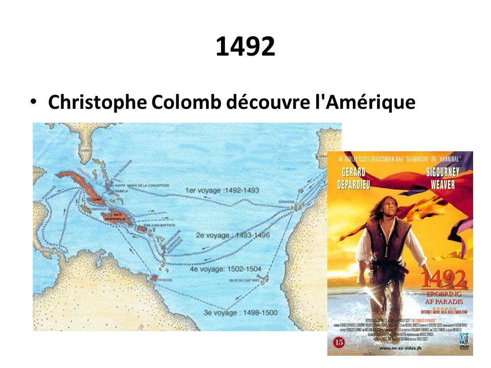 1492 Christophe Colomb découvre l'Amérique
