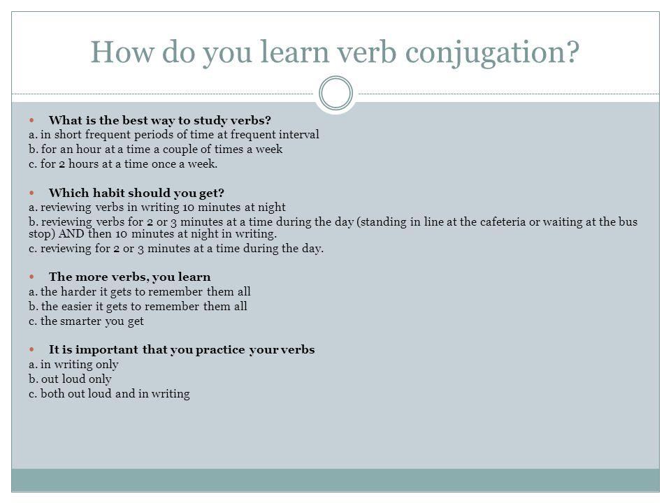 Activité #1: Etudier les verbes Apportez un paquet de cartons (flashcards) en classe.