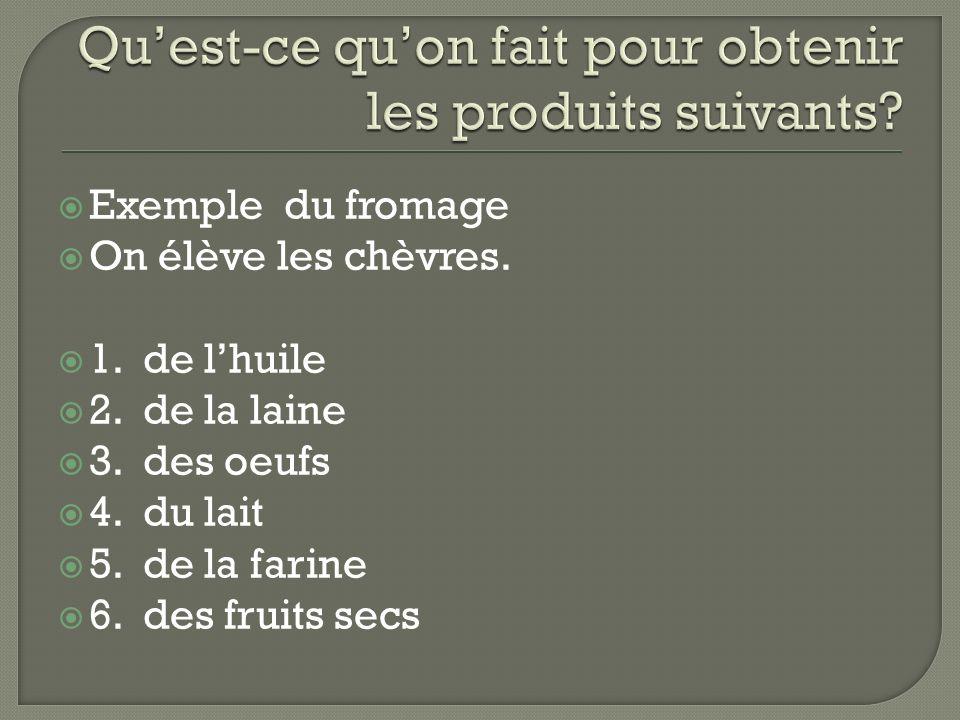 Exemple du fromage On élève les chèvres. 1. de lhuile 2. de la laine 3. des oeufs 4. du lait 5. de la farine 6. des fruits secs