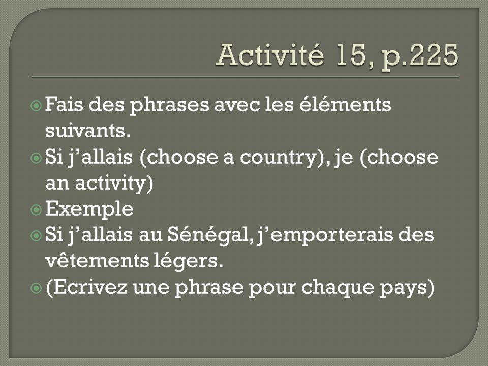 Fais des phrases avec les éléments suivants. Si jallais (choose a country), je (choose an activity) Exemple Si jallais au Sénégal, jemporterais des vê