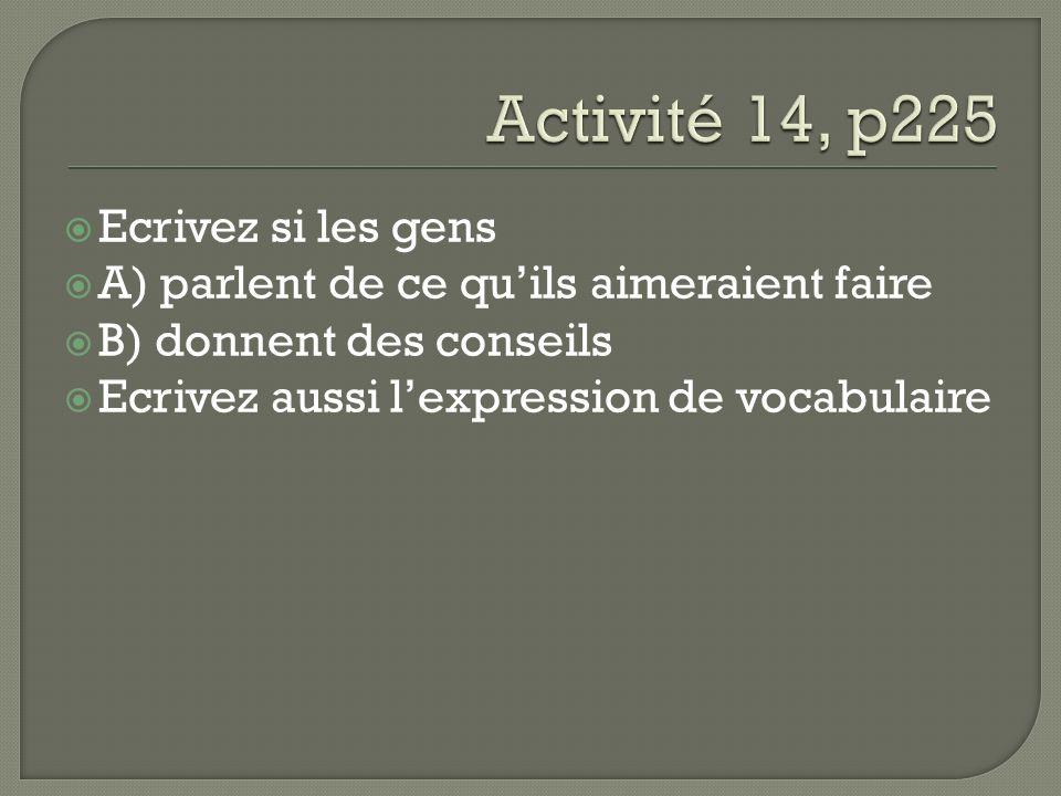 Ecrivez si les gens A) parlent de ce quils aimeraient faire B) donnent des conseils Ecrivez aussi lexpression de vocabulaire