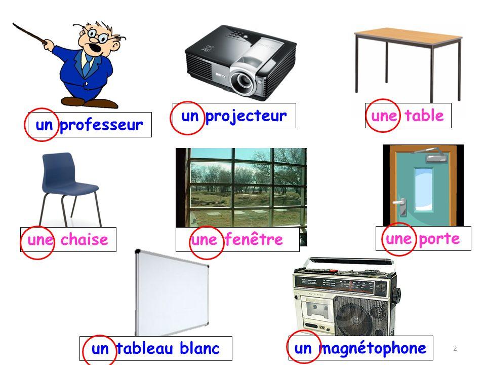 un professeur un projecteur un magnétophone une fenêtre une porte un tableau blanc une table une chaise 2