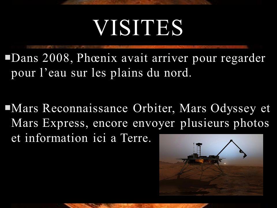 VISITES Dans 2008, Phœnix avait arriver pour regarder pour leau sur les plains du nord. Mars Reconnaissance Orbiter, Mars Odyssey et Mars Express, enc