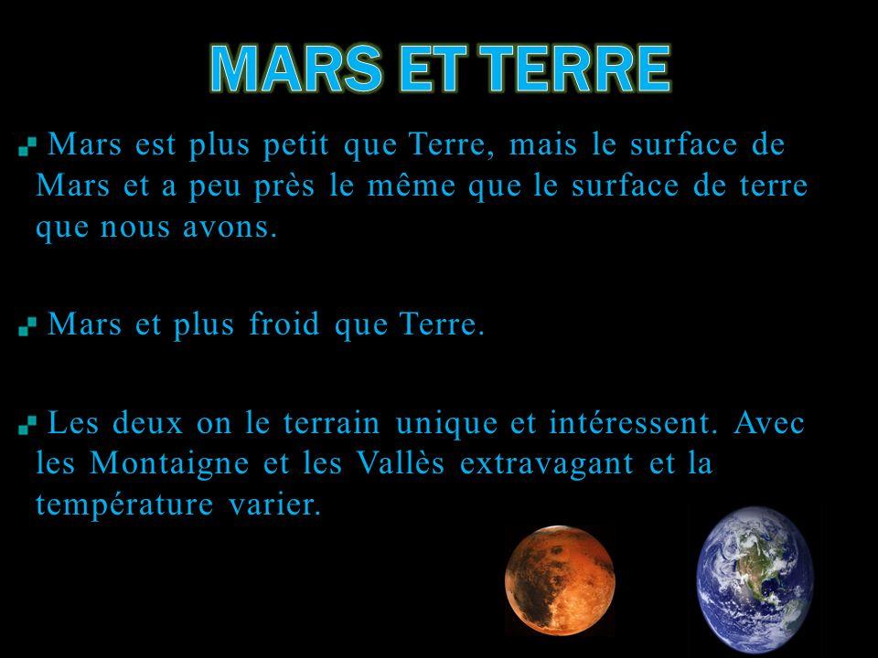 Mars est plus petit que Terre, mais le surface de Mars et a peu près le même que le surface de terre que nous avons. Mars et plus froid que Terre. Les