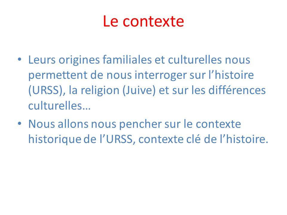 Le contexte Leurs origines familiales et culturelles nous permettent de nous interroger sur lhistoire (URSS), la religion (Juive) et sur les différenc
