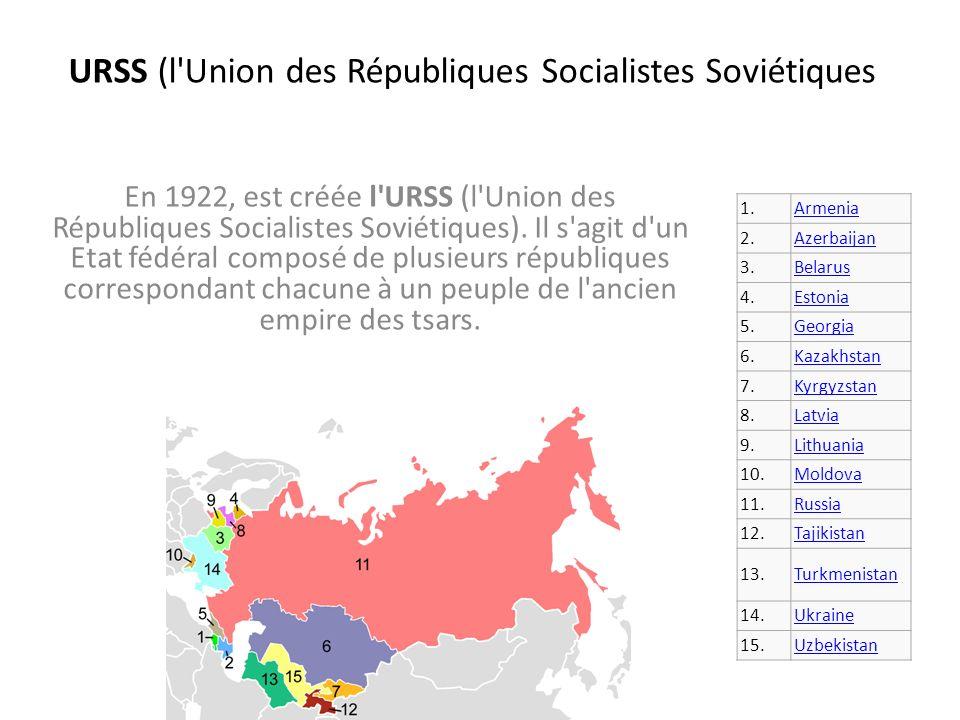 URSS (l'Union des Républiques Socialistes Soviétiques En 1922, est créée l'URSS (l'Union des Républiques Socialistes Soviétiques). Il s'agit d'un Etat