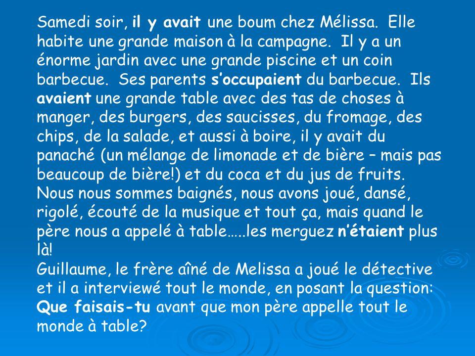 Réponds aux questions: (Check what tense each question is in!) Qui a fait une boum.
