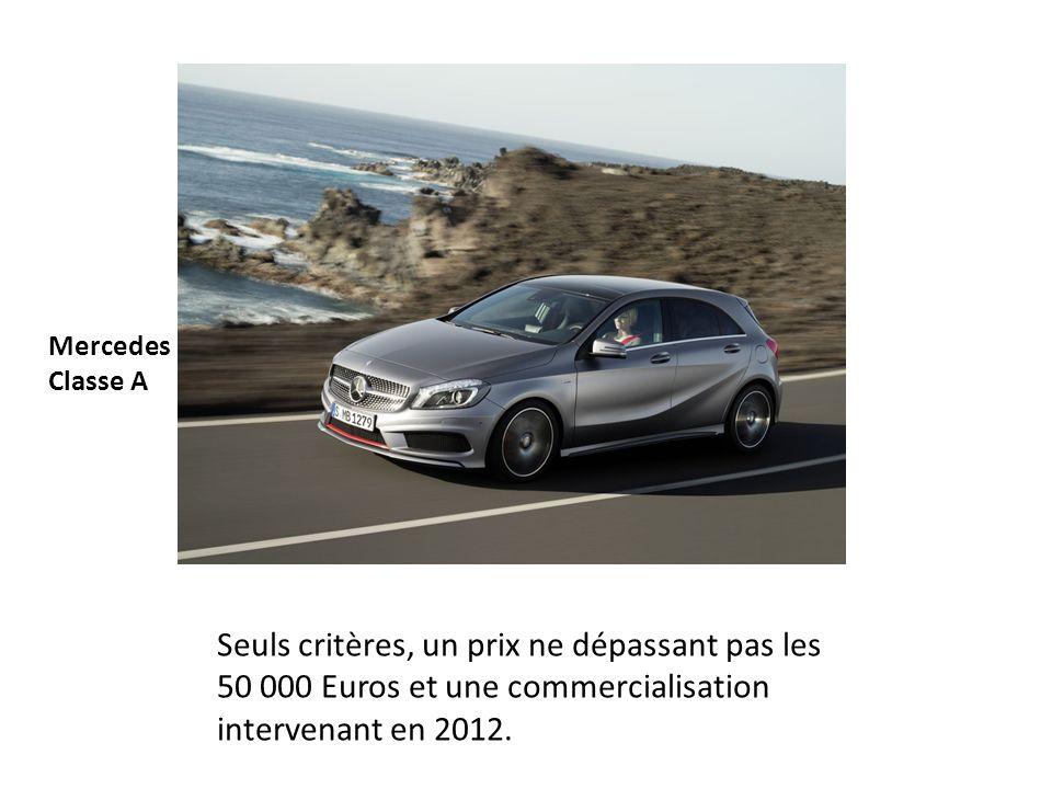 Mercedes Classe A Seuls critères, un prix ne dépassant pas les 50 000 Euros et une commercialisation intervenant en 2012.