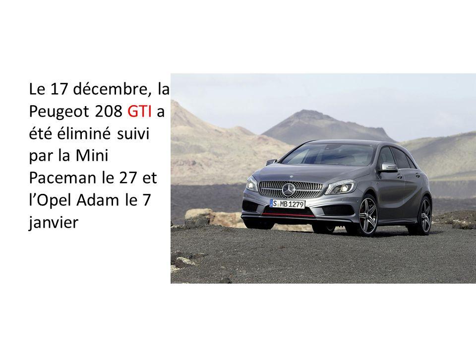 Le 17 décembre, la Peugeot 208 GTI a été éliminé suivi par la Mini Paceman le 27 et lOpel Adam le 7 janvier