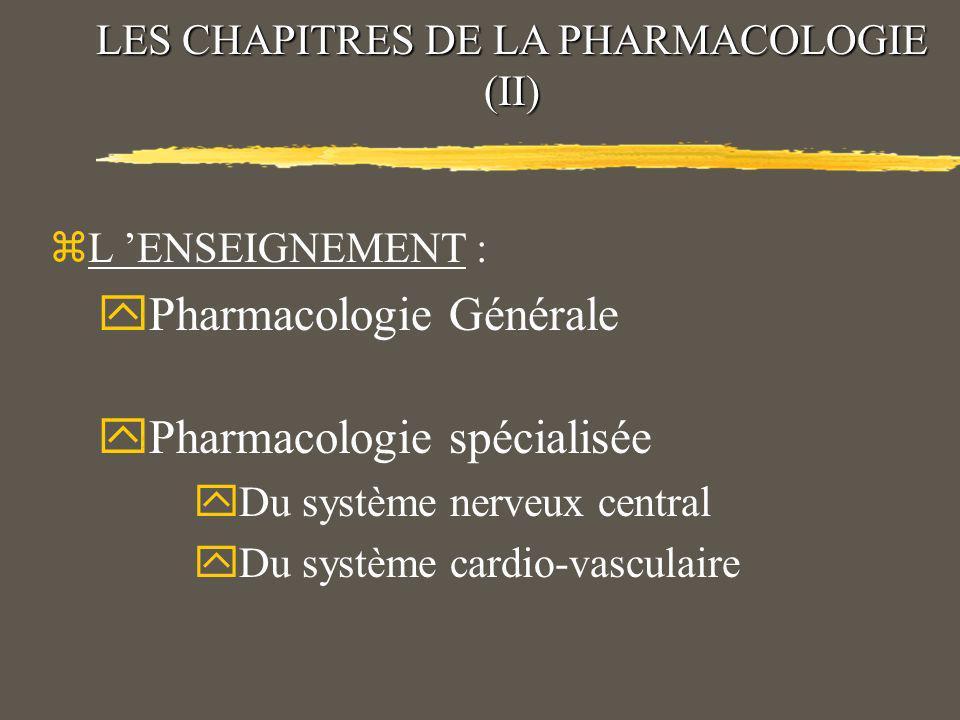 LES CHAPITRES DE LA PHARMACOLOGIE (I) yPharmacologie expérimentale yPharmacologie clinique yPharmacovigilance yPharmacoépidémiologie yPharmacocinétique yPharmacogénétique yPharmacoéconomie