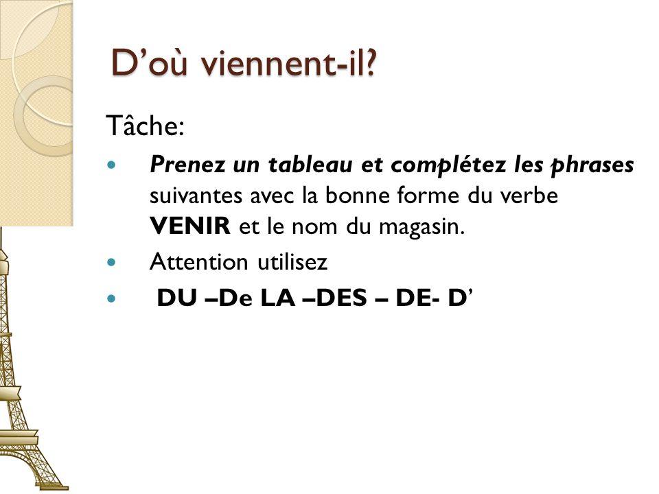 Doù viennent-il? Tâche: Prenez un tableau et complétez les phrases suivantes avec la bonne forme du verbe VENIR et le nom du magasin. Attention utilis