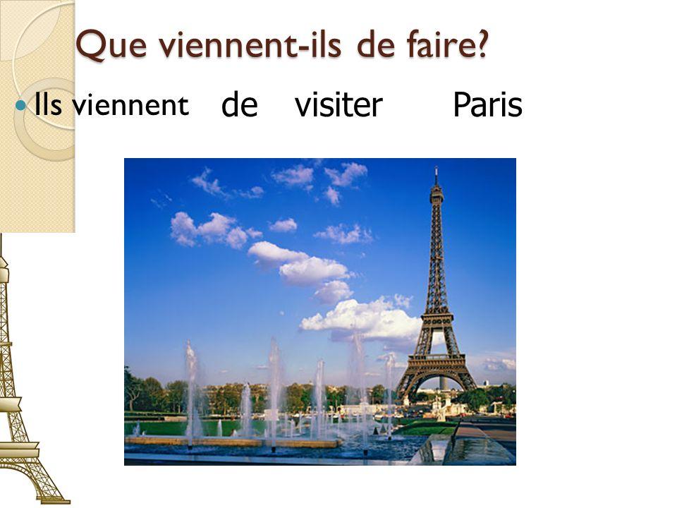 Que viennent-ils de faire? Ils viennent de visiter Paris