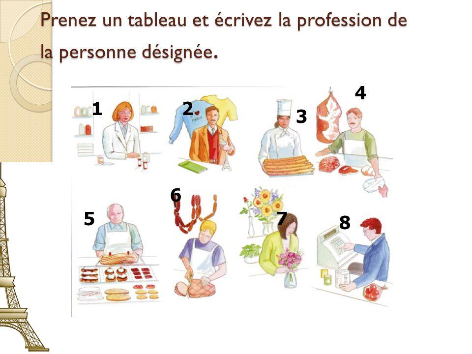 Prenez un tableau et écrivez la profession de la personne désignée. 3 21 4 8 57 6