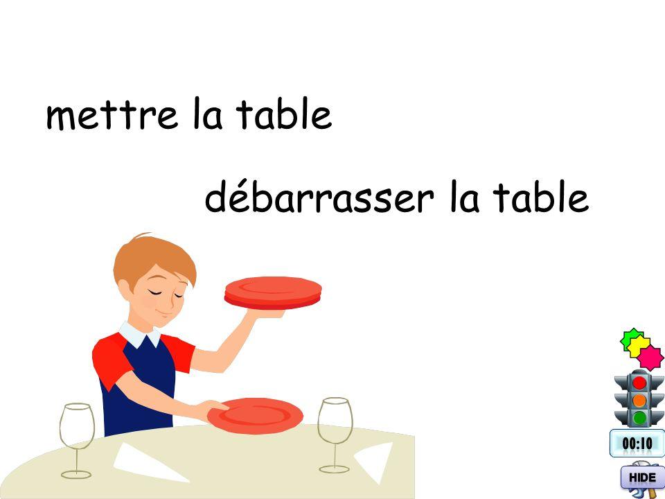 mettre la table débarrasser la table