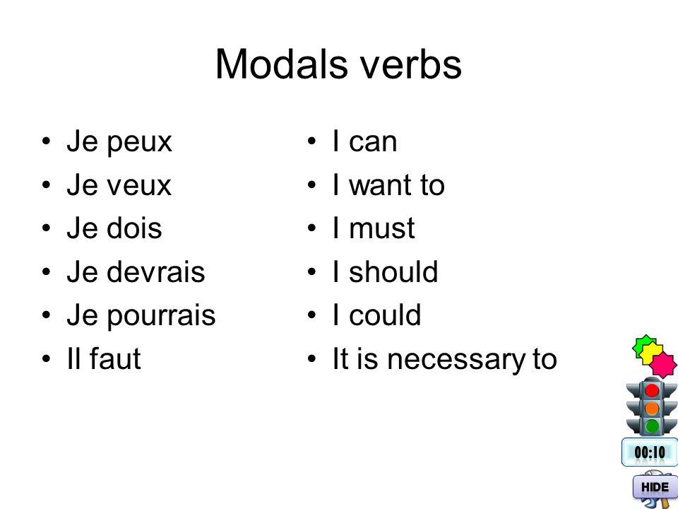 Modals verbs Je peux Je veux Je dois Je devrais Je pourrais Il faut I can I want to I must I should I could It is necessary to