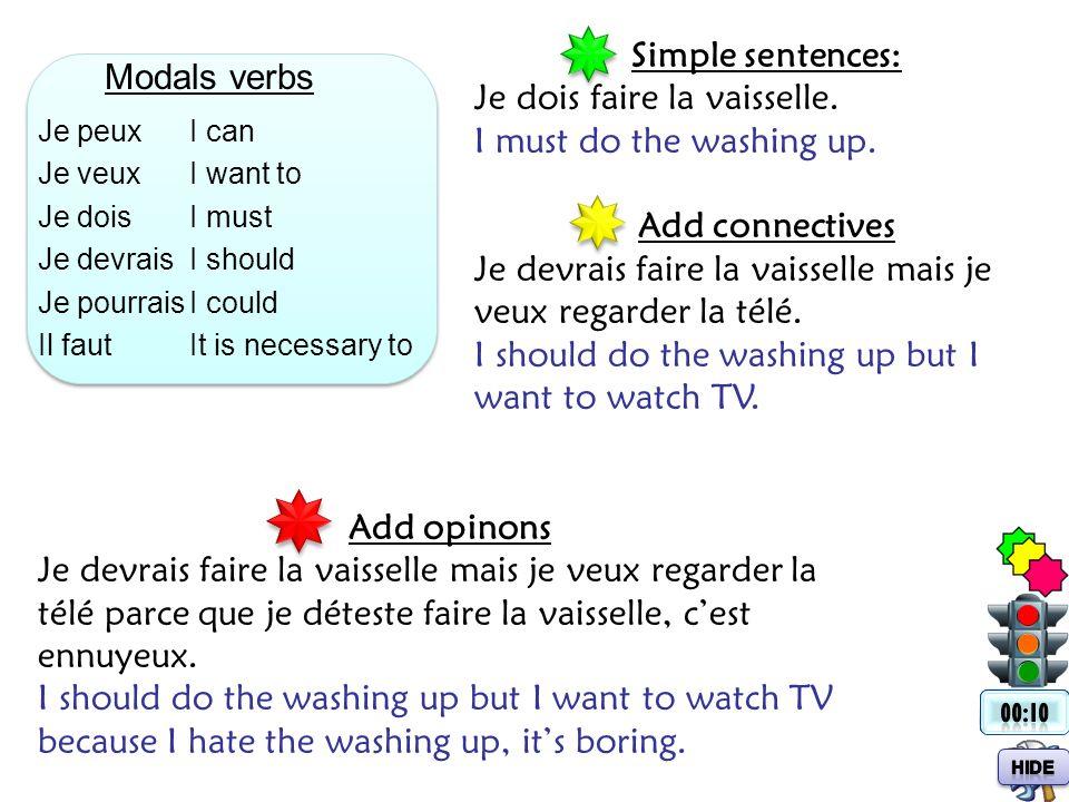 Modals verbs Je peux Je veux Je dois Je devrais Je pourrais Il faut I can I want to I must I should I could It is necessary to Simple sentences: Je do