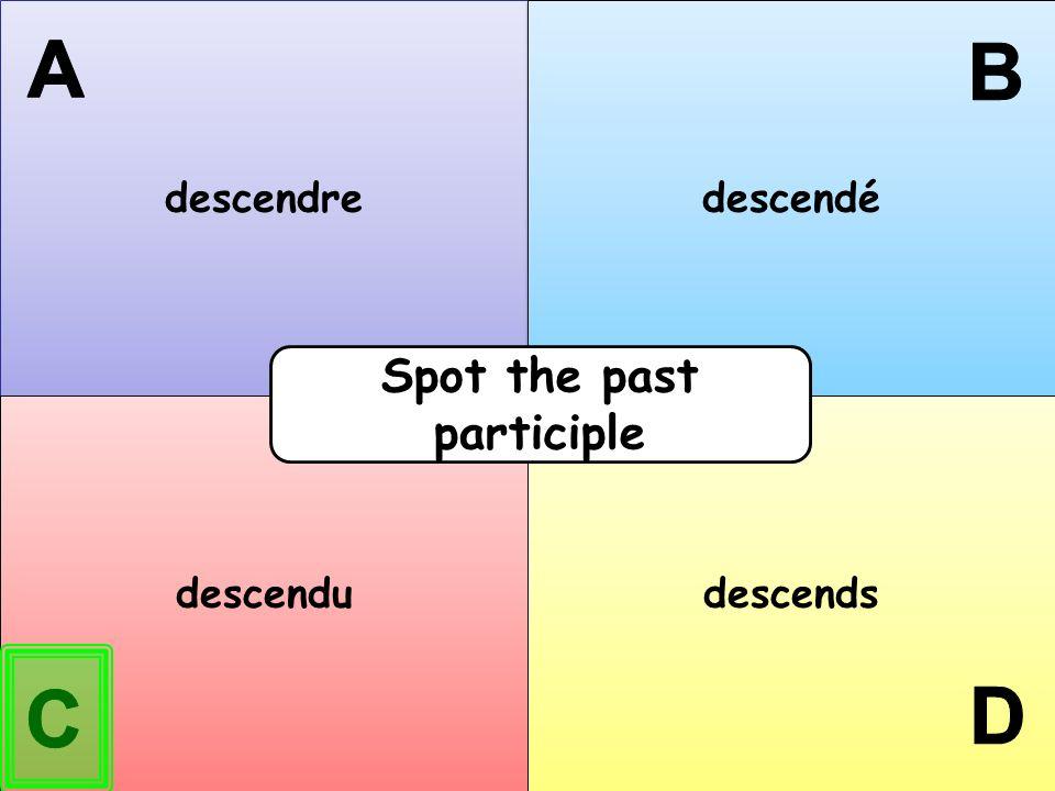 descendre descendé descendu descends Spot the past participle