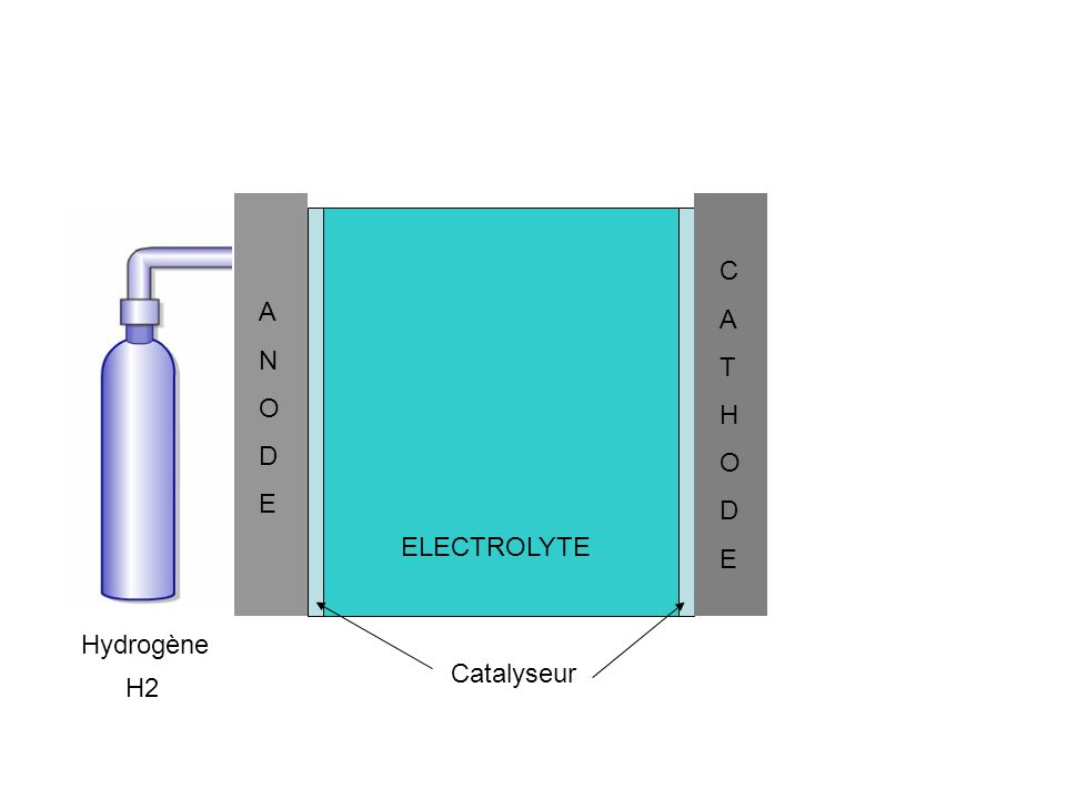 H2 Hydrogène ANODEANODE CATHODECATHODE ELECTROLYTE Catalyseur