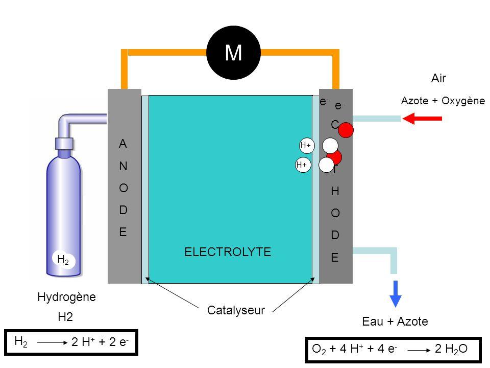 H2 Hydrogène Air Azote + Oxygène ANODEANODE CATHODECATHODE ELECTROLYTE M Catalyseur H+ e-e- e-e- H2H2 H2H2 2 H + + 2 e - Eau + Azote O 2 + 4 H + + 4 e - 2 H 2 O